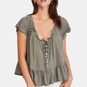 XS Free People Army Green Charlie Top